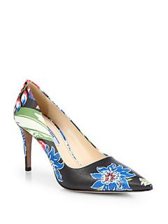 Prada Floral Print Leather Point Toe Pumps   Nero Black