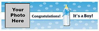 Blue Baby Bottle Personalized Photo Vinyl Banner    72 x 202 Inches, Blue, White