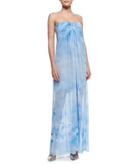 Womens Maisie Cloud Print Strapless Chiffon Maxi   Alice + Olivia