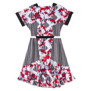 Peter Pilotto for Target Belted Dress  Red Floral/Check Print 12