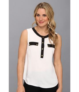Jones New York Sleeveless Blouse w/ Button Up Placket Womens Blouse (White)