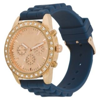 Womens Xhilaration Rose Gold Colored Case with Rhinestones Watch   Navy