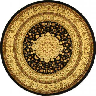 Lyndhurst Collection Mashad Black/ Ivory Rug (8 Round) (BlackPattern OrientalMeasures 0.375 inch thickTip We recommend the use of a non skid pad to keep the rug in place on smooth surfaces.All rug sizes are approximate. Due to the difference of monitor