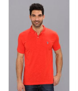 U.S. Polo Assn Solid Slub Polo Mens Short Sleeve Knit (Red)