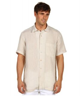 Bugatchi Grant S/S Linen Collection Shirt Mens Short Sleeve Button Up (Beige)