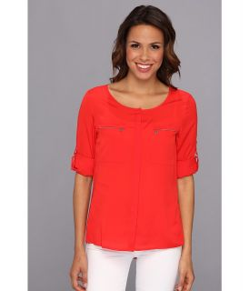 Anne Klein Roll Sleeve Shirt Womens Blouse (Red)