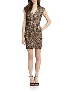 Stretch Lace Dress   Black Nude