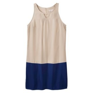 Merona Womens Colorblock Hem Shift Dress   Hamptons Beige/Waterloo Blue   XS