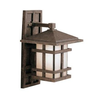 Kichler 9130AGZ Outdoor Light, Arts and Crafts/Mission Wall Bracket 1 Light Fixture Aged Bronze