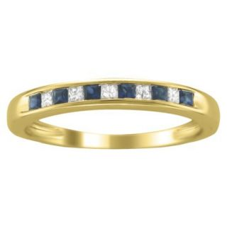 1/3 CT.T.W. Diamond and Sapphire Band Ring in 14K Yellow Gold   Size 7.5