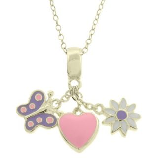 Lily Nily 18k Gold Overlay Enamel Heart/Butterfly/Flower Dangle Necklace