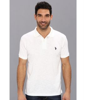 U.S. Polo Assn Solid Slub Polo Mens Short Sleeve Knit (White)