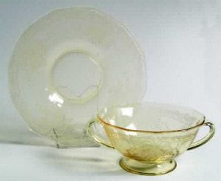 Fostoria June Topaz/Yellow Cream Soup and Saucer Set   Stem #5098, Etch #279, Ye