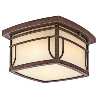 Kichler 49153AGZ Outdoor Light, Arts and Crafts/Mission Flush Mount 2 Light Fixture Aged Bronze