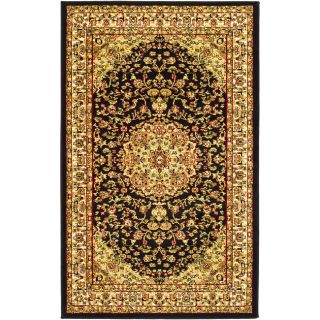 Lyndhurst Collection Black/ Ivory Rug (53 X 76) (BlackPattern OrientalTip We recommend the use of a non skid pad to keep the rug in place on smooth surfaces.All rug sizes are approximate. Due to the difference of monitor colors, some rug colors may vary