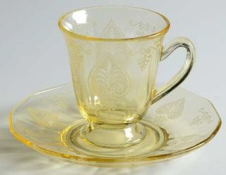 Fostoria Trojan Topaz Demitasse Cup and Saucer Set   Stem #5099, Topaz, Etch #28