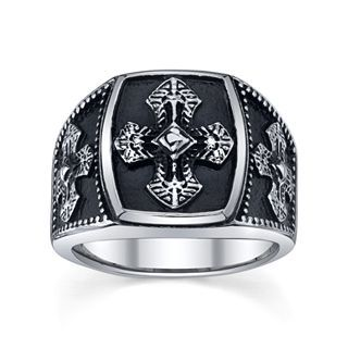 Maksim Mens Stainless Steel Cross Ring, White