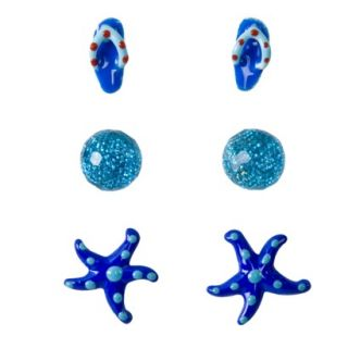 Kids Sterling Silver Flip Flop, Ball and Starfish Earring Set