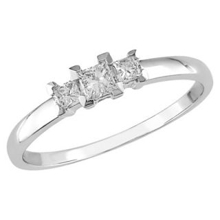 10K White Gold Diamond 3 Stone Ring Silver 5.0