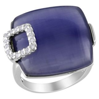 Silver 11ct Synthetic Blue Cat Eye & White Cubic Zirconia Ring