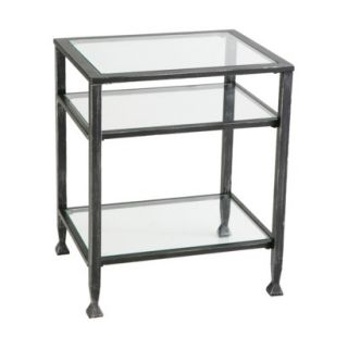 End Table Distressed Metal End Table   Black