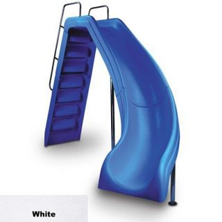 Interfab WRSCRHSSPC1 Wild Ride Pool Slide Complete Right Turn w/ White Powder Coated Handrails White