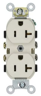 Leviton CR20T Electrical Outlet, Duplex Receptacle, 20A Commercial Grade with Self Grounding Clip Light Almond