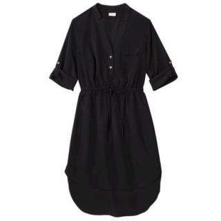 Merona Womens Drawstring Shirt Dress   Black   XL