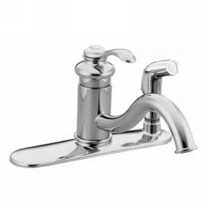Kohler K 12173 CP Fairfax Single Handle Kitchen Faucet with Sidespray
