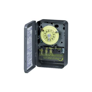 Intermatic T104 Timer, 208277V DPST 24Hour Mechanical Time Switch w/ Metal Case
