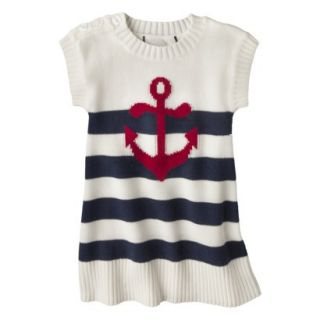 Infant Toddler Girls Striped Anchor Sweater Dress   White/Navy 18 M
