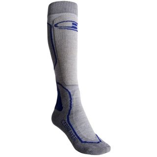 Icebreaker Ski + Mid Socks   Merino Wool  Over the Calf (For Women)   TWISTER/SILVER (L )