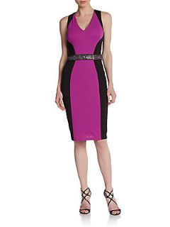Sleeveless Colorblock Sheath Dress   Black Purple