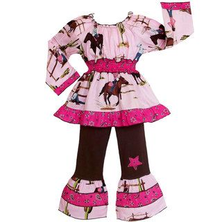 Annloren Girls Western Cowgirls And Horses 2 piece Outfit