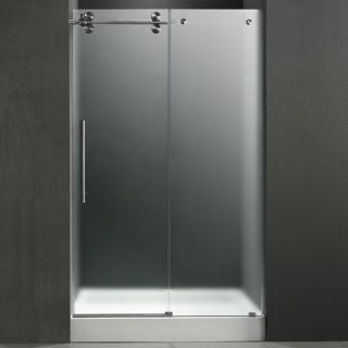 Vigo Industries VG6041STMT60LWM Shower Door, 60 Frameless 3/8 Left w/White Base Center Drain Frosted/Stainless Steel