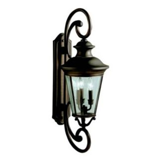 Kichler 9348OZ Outdoor Light, Classic (Formal Traditional) Wall 3 Light Fixture Olde Bronze