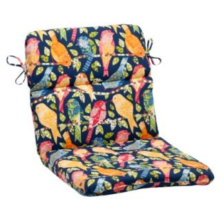 Outdoor Rounded Chair Cushion   Blue/Orange Birds