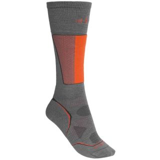 SmartWool PhD Racer Ski Socks   Midweight  Merino Wool  Over the Calf (For Men and Women)   GRAPHITE/ORANGE (XL )