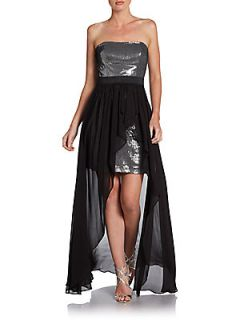 Chiffon Overlay Sequined Dress   Black