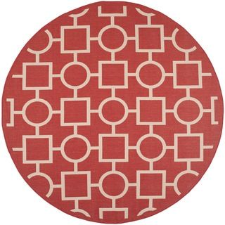Easy to maintain Safavieh Indoor/ Outdoor Courtyard Red/ Bone Rug (710 Round)