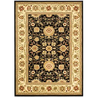 Lyndhurst Collection Majestic Black/ Ivory Rug (8 X 11)