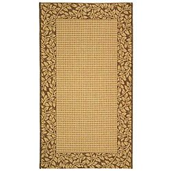 Indoor/ Outdoor Natural/ Brown Rug (710 X 11) (IvoryPattern BorderMeasures 0.25 inch thickTip We recommend the use of a non skid pad to keep the rug in place on smooth surfaces.All rug sizes are approximate. Due to the difference of monitor colors, some