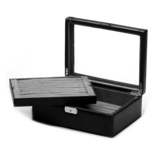 Cufflinks Inc Deluxe Black Leather Cufflinks Collectors Case   11W x 3.5H in.