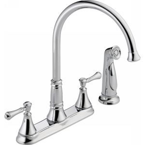 Delta Faucet 2497LF Cassidy Two Handle Kitchen Faucet with Spray