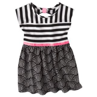 Circo Infant Toddler Girls Short Sleeve Striped Dress   Black/Pink 18 M