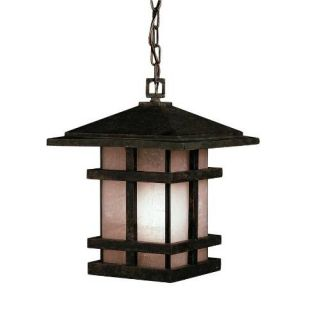 Kichler 9829AGZ Outdoor Light, Arts and Crafts/Mission Pendant 1 Light Fixture Aged Bronze
