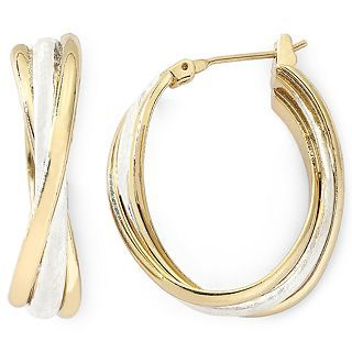 MONET JEWELRY Monet Medium Gold Tone Oval Twist Hoop Earrings, Tton