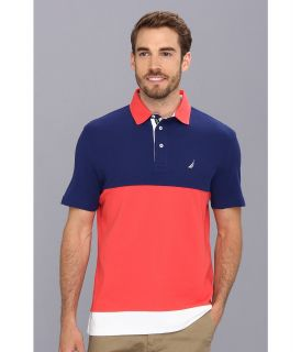 Nautica Performance Tech Pique Color Block Polo Shirt Mens Short Sleeve Pullover (Blue)