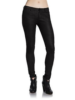 Embossed Leather Pants   Black