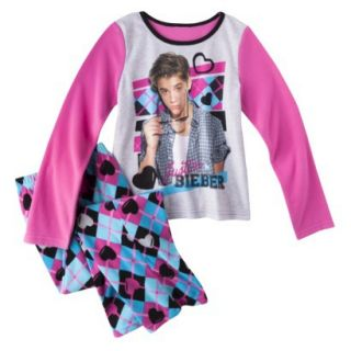Justin Bieber Girls 2 Piece Long Sleeve Pajama Set   Blue 4